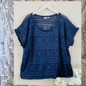 Cato Navy Blue Perforated Top 26/28W